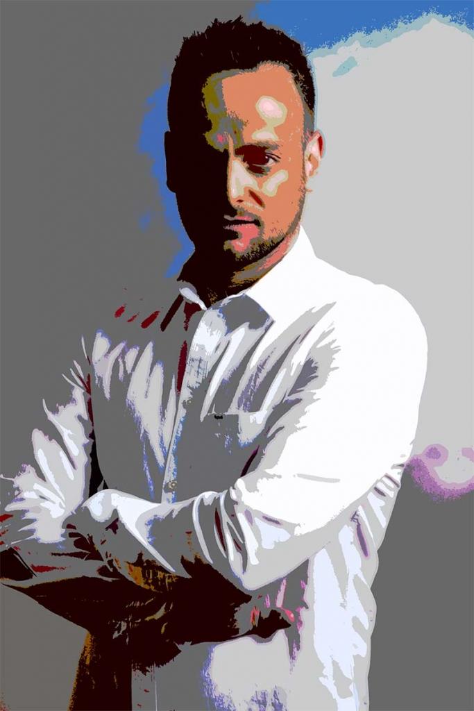 YourBestPicture Popart-Portrait: Mann mit verschränkten Armen