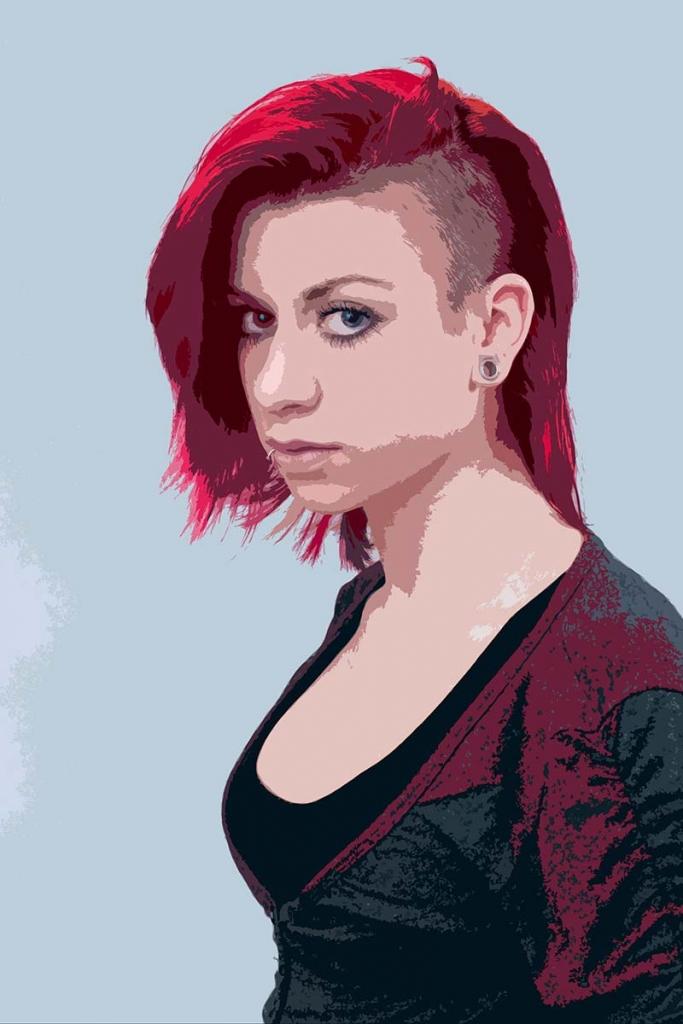 Popart-Portrait Junge Frau Punk-Look
