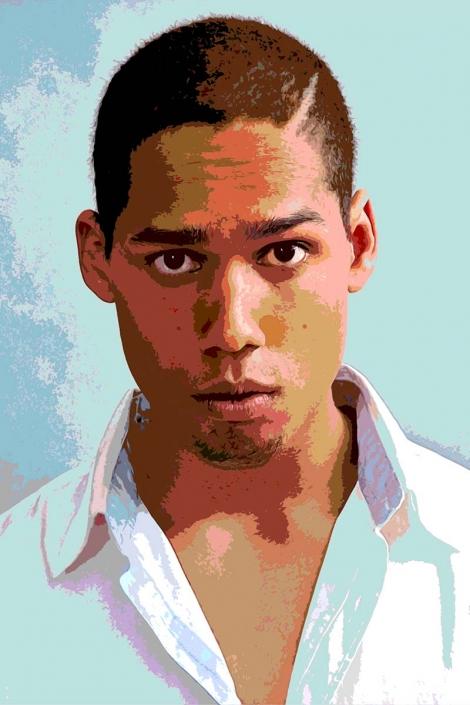 Popart-Foto: Portrait eine jungen, farbigen Mannes
