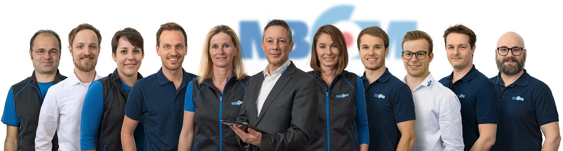 Businessfoto Gruppenbild Mitarbeiter MBCOM IT-Systemhaus